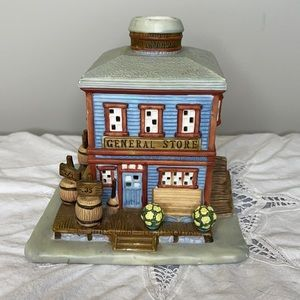 PartyLite rustic Country General Store Tea light porcelain candle holder